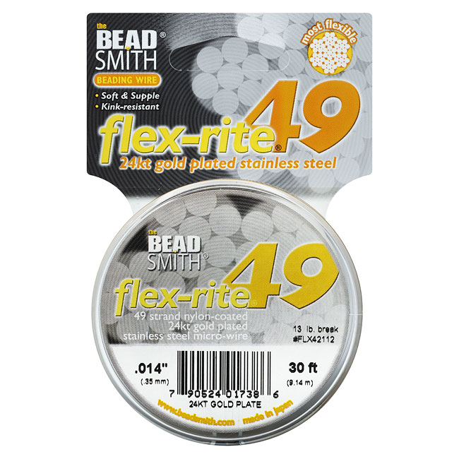 "BeadSmith Flex-Rite Beading Wire, 49 Strand .014"" Thick, 30 Foot Spool, 24K Gold Plated"