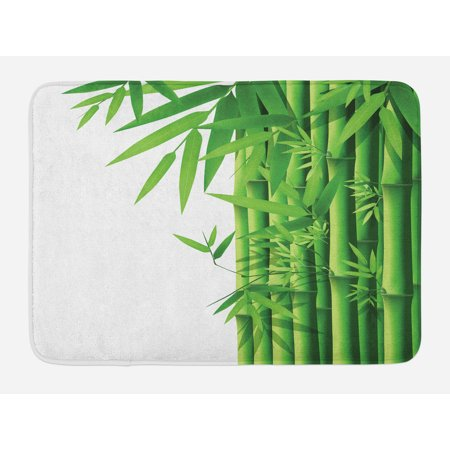 Bamboo Bath Mat, Modern Image of Fresh Bamboo Stems Leaves ...