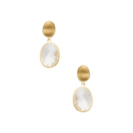 18K Yellow Gold Clad Faceted Rock Crystal Oval Drop Satin Earrings