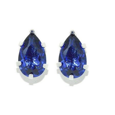 - 14Kt White Gold Tanzanite Pear Shape Stud Earrings