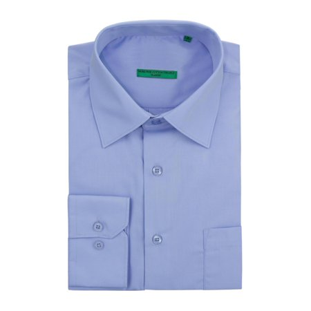 DTI BB Signature Men's Modern Classic Fit 2 Ply Pure Cotton Solid Dress Shirt Light Blue