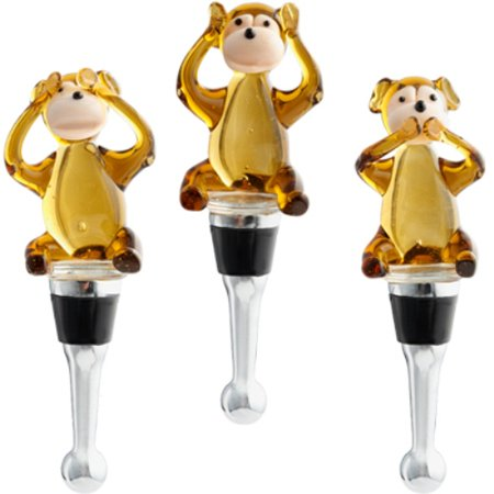 Glass Wine Stopper - See Hear Speak No Evil Monkeys Glass Wine Bottle Stoppers Set of 3