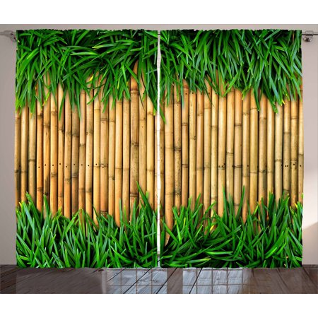 Green and Brown Curtains 2 Panels Set, Bamboo with Grass Asian Inspirations Summer Ecology Japanese, Window Drapes for Living Room Bedroom, 108W X 63L Inches, Sand Brown Fern Green, by Ambesonne (Dark Brown Bamboo Tube)