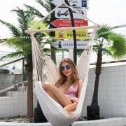 Large Hammock Chair Swing, Relax Hanging Rope Swing Chair with Two Seat Cushions, Hanging Hardware Kit, Cotton Hammock Chair Swing Seat for Yard Bedroom Patio Porch Indoor Outdoor