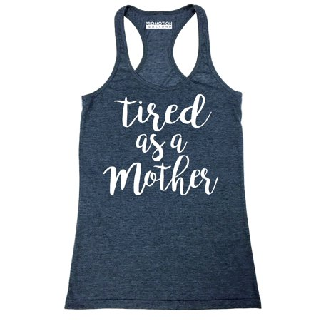 Vintage True Navy Heather (P&B Tired as a Mother Funny Women's Tank Top, Heather Navy, M )