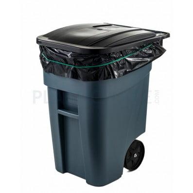 Plasticplace 65 Gallon Rollout Trash Bags Black Case Of 100