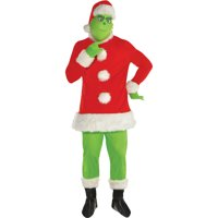 Amscan Grinch Santa Costume for Adults, Christmas Costume, Standard, with Included Accessories