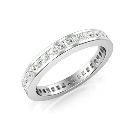 Sz 7 3MM Sterling Silver Princess Cut CZ Eternity Cubic Zirconia Ring