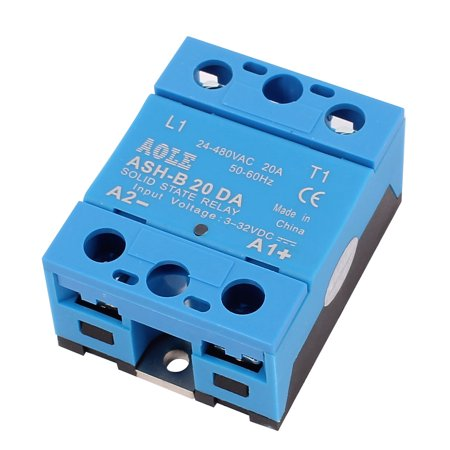 ASH-20DA 3-32VDC to 480VAC 20A Electric Single Phase Solid State DC to  Relay