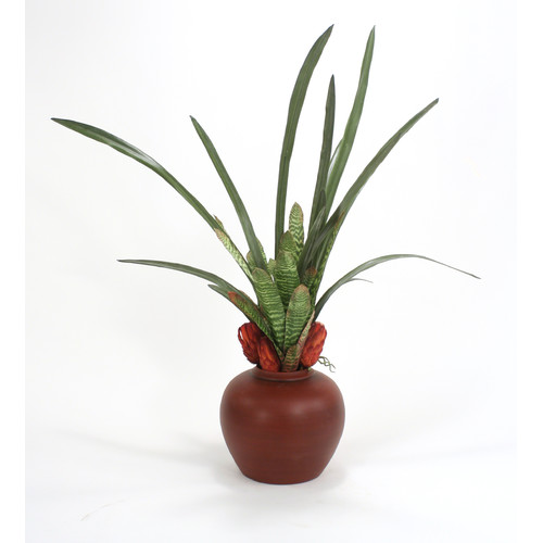 Distinctive Designs Silk Bromeliads, Orchid Foliage and Dried Grandiceps Floor Plant in Decorative Vase