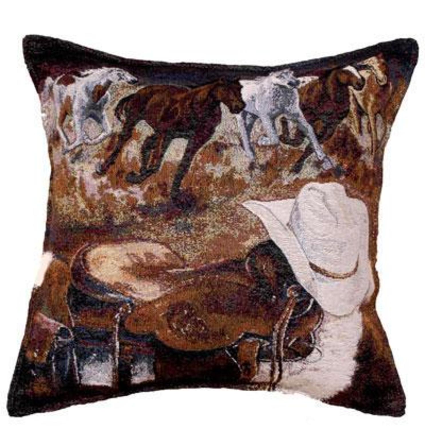 "Western Way Horse Cowboy Gear Accent Throw Pillow 17"" x 17"""