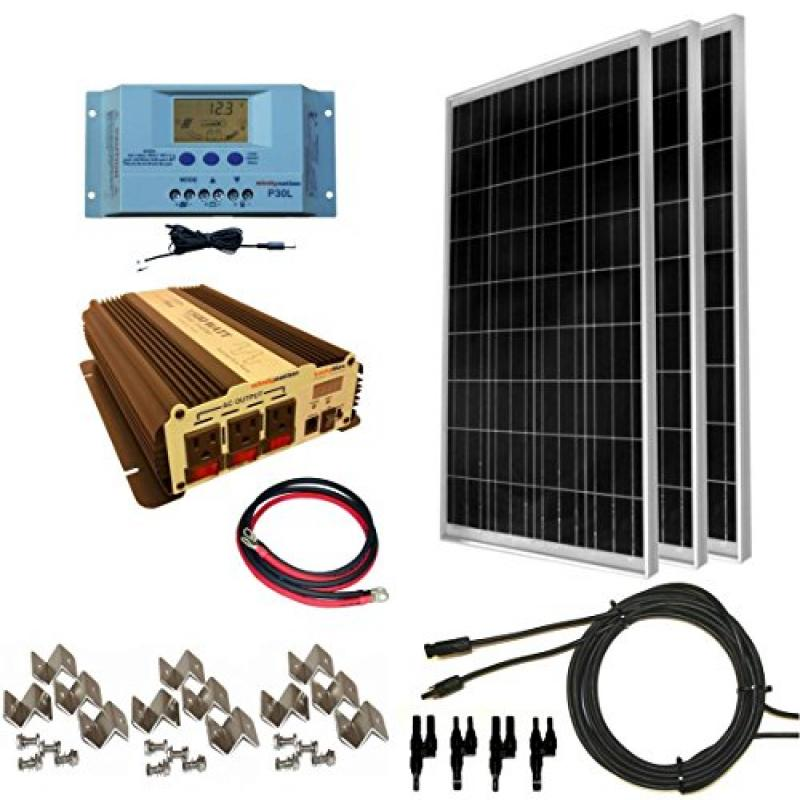 Windynation 300 Watt 3pcs 100 Watt Solar Panel Kit With 1500w