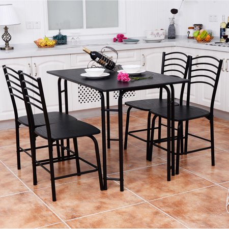 (Costway 5 PCS Black Dining Set Table 4 Chairs Steel Frame Home Kitchen Furniture)