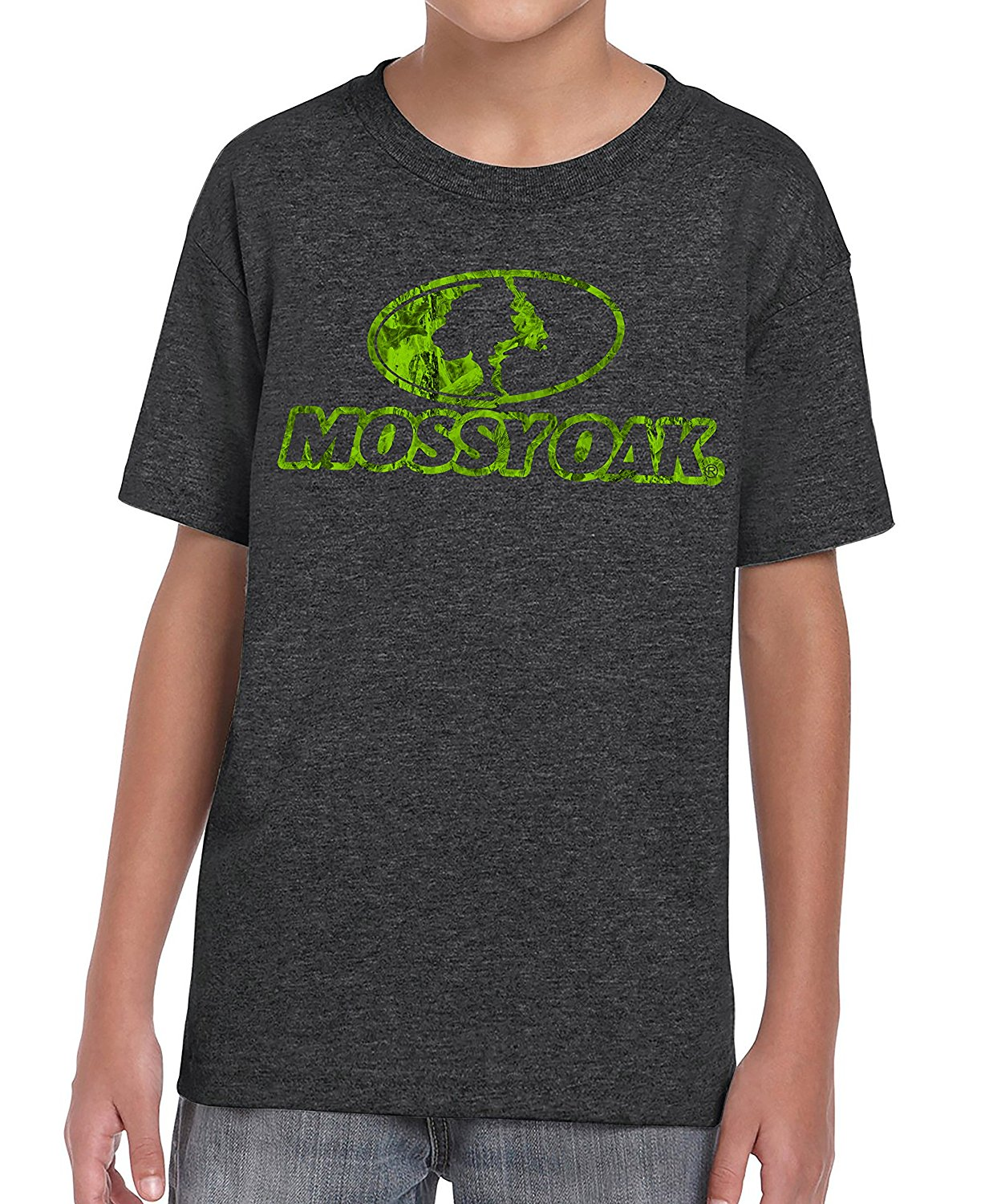 Mossy Oak Youth Black Front Logo Hunting kid's T-Shirt (Small)
