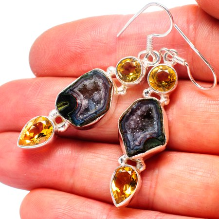 Coconut Geode Druzy, Citrine Earrings 2
