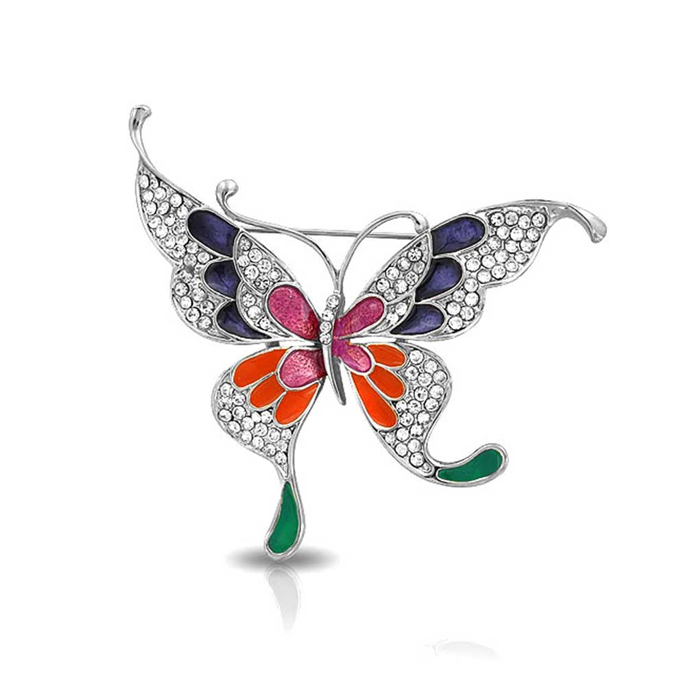 Bling Jewelry Multicolor Enamel Crystal Brooch Animal Madame Butterfly Pin by Bling Jewelry