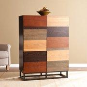 Southern Enterprises Harvey Bar Cabinet in Multi-Tonal Wood and Black