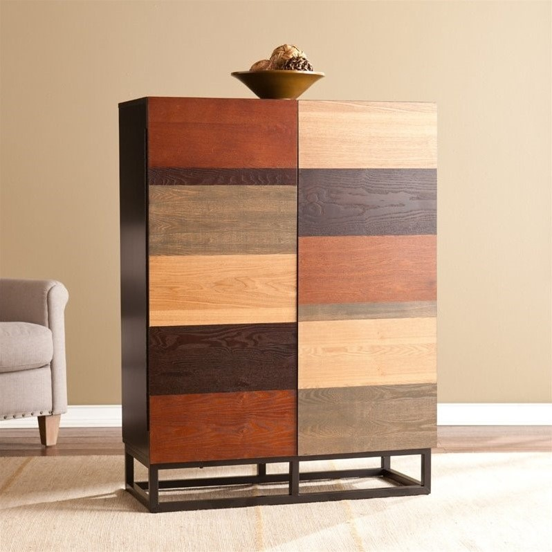 Southern Enterprises Harvey Bar Cabinet in Multi-Tonal Wood and Black