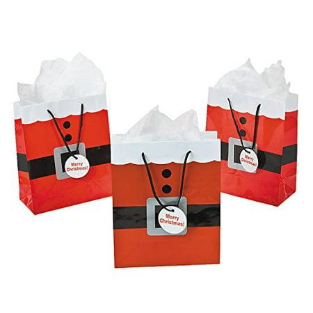 - Fun Express Santa Clause Suit Medium Gift Bags - 12 Piece Pack