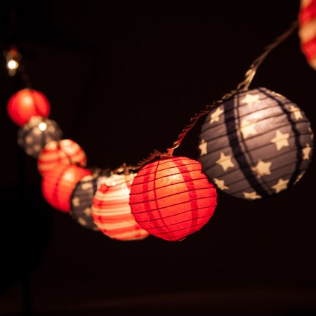 Fantado 10 Socket 4th of July Red, White and Blue Round Paper Lantern Party String Lights (4