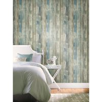 Roommates Blue Distressed Wood Peel And Stick Wall Decor Wallpaper