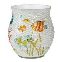 Creative Bath Rainbow Fish Resin Waste Basket, Multi-Color