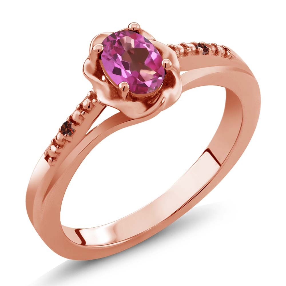 0.52 Ct Oval Pink Mystic Topaz Red Garnet 14K Rose Gold Ring by