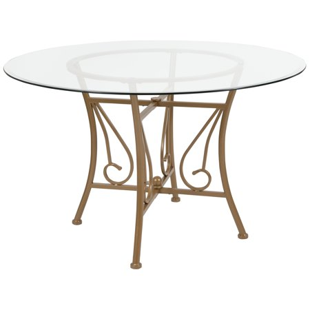 Flash Furniture Princeton 48'' Round Glass Dining Table with Matte Gold Metal Frame for $<!---->