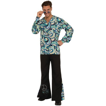 Mens 70s Disco Dancing King Swirl Waves Shirt And Pants Costume - Mens Pleather Pants Halloween Costume
