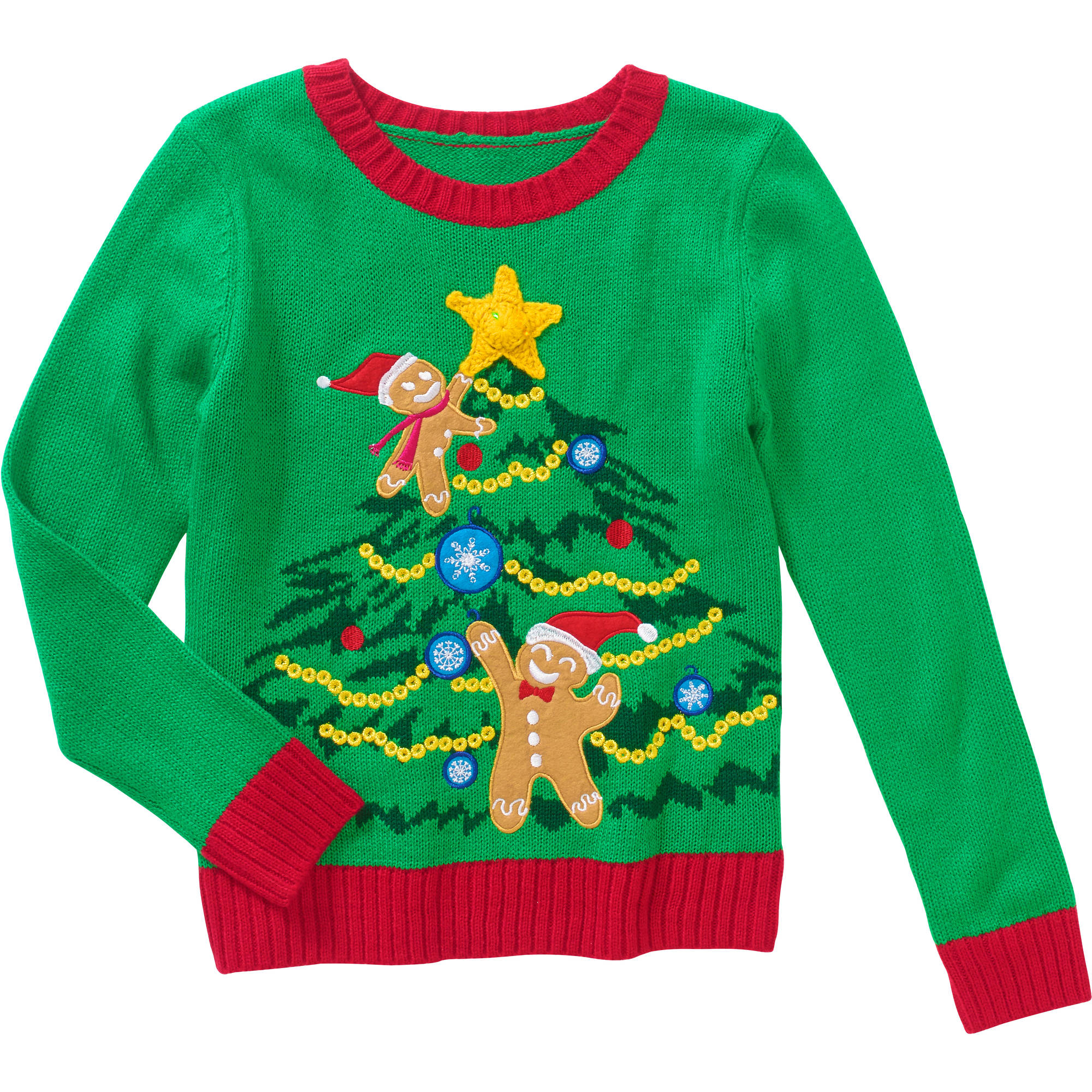Holiday Time Girls' Light Up Holiday Sweater