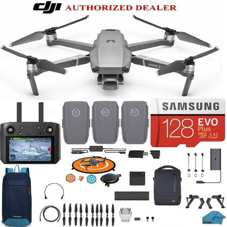 DJI Mavic 2 PRO Drone Quadcopter Fly More Combo with Hasselblad Camera, with Smart Controller (Built in Monitor), 3 Batteries, 128GB SD Card Bundle Kit with Must Have