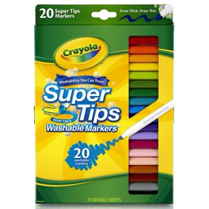 Crayola Super Tips Fine Line Washable Markers, 20 count
