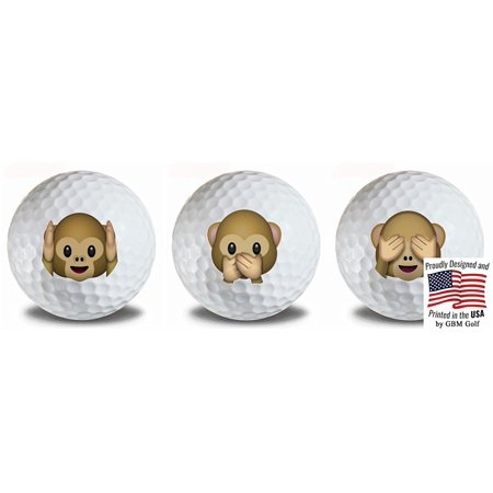 3 Monkeys Hear, Speak, See no Evil Golf Balls 3 Pack by GBM Golf](Hear See Speak No Evil)