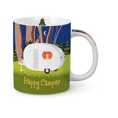 Weekend Camping Happy Camper Teardrop Pop Up Ceramic Coffee Latte 13 Ounce Mug