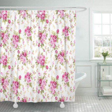 KSADK Anemone Little Bouquet Shade Rose Flower Pattern with Vintage Pink Beautiful Bathroom Shower Curtain 60x72 inch