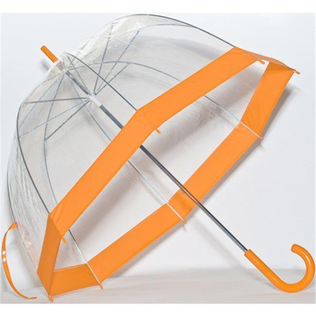 Elite Rain Umbrella Clear Classic Bubble Umbrella - Orange Trim
