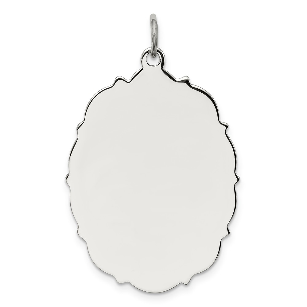 Sterling Silver Engraveable Disc Charm (1.2in long x 0.9in wide)