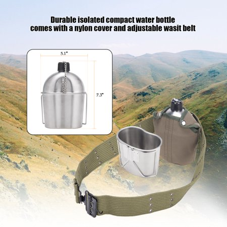 Nylon 2 Qt Bladder Canteen (Stainless Steel Canteen Cup Kit 1 Quart with Foldable Cup Handle & Nylon Cover)