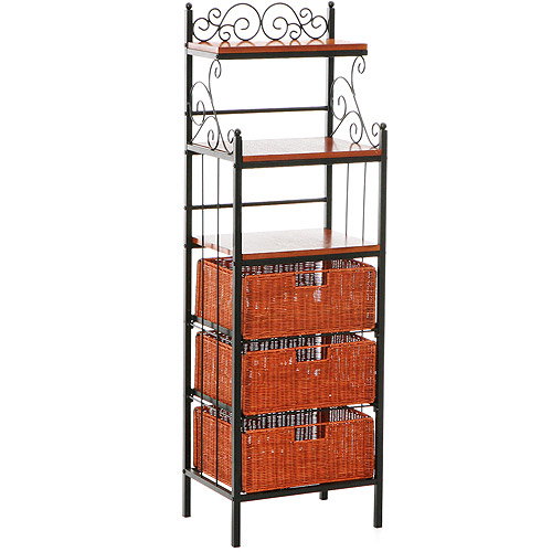 Southern Enterprises Celtic Bakers Rack with Baskets
