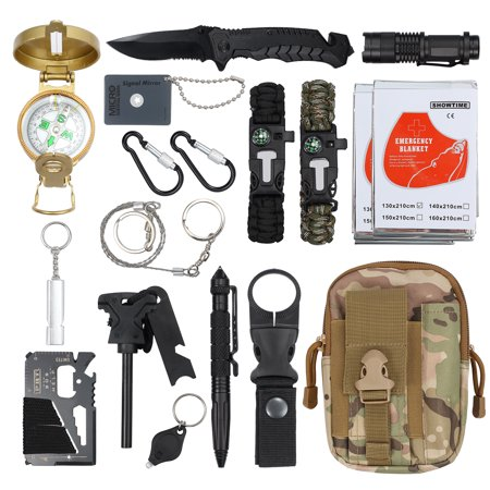 ESYNIC Survival Gear Kits 18 in 1 Outdoor Emergency SOS Survive Tool For Wilderness/Trip/Cars/Hiking/Camping gear  (Jlr Gear)