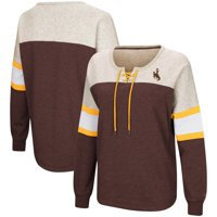 Wyoming Cowboys Colosseum Women's Become Great Lace-Up Pullover Fleece Sweatshirt - Brown