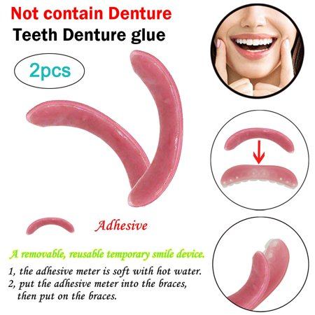 2pc Temporary Smile Comfort Fit Cosmetic Teeth Denture Glue For Denture