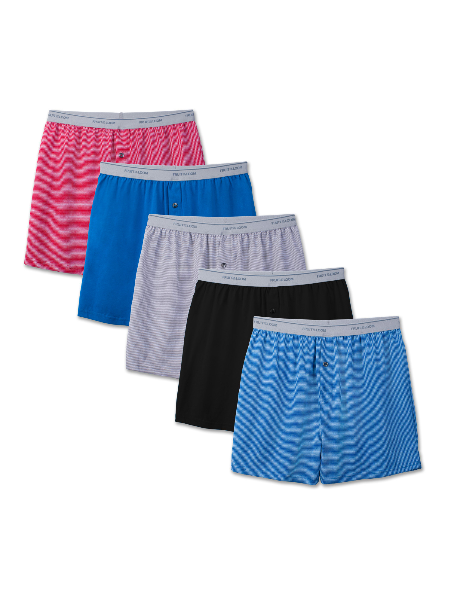 Men's Dual Defense Exposed Waistband Knit Boxers, 5 Pack