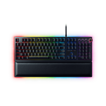 Razer Huntsman Elite: Opto-Mechanical Switch - Multi-Functional Digital Dial & Media Keys - Leatherette Wrist Rest - 4-Side Underglow - Gaming