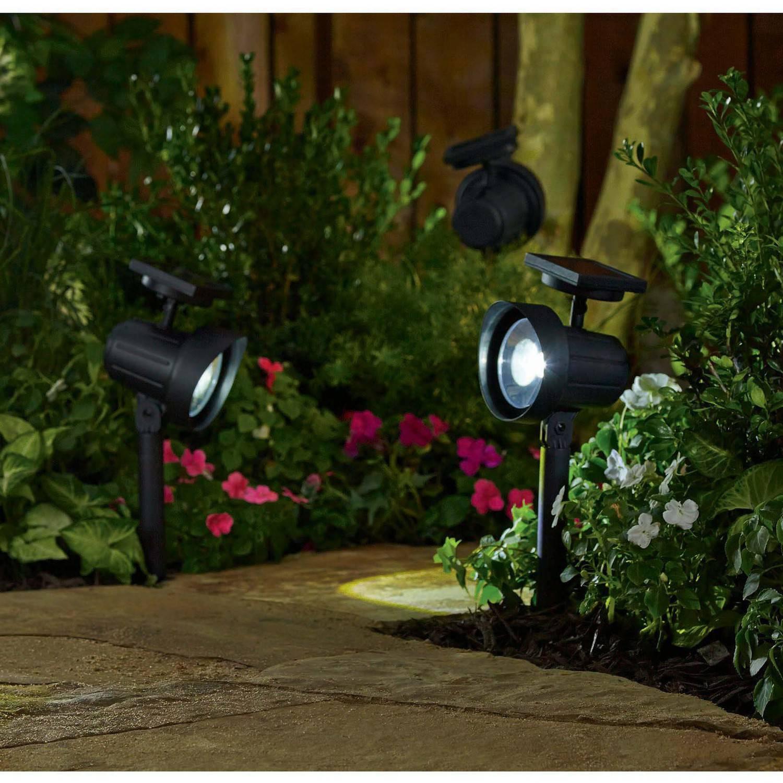 Better Homes and Gardens 6 Piece Solar-Powered Adjustable Spotlight Set, Black Finish