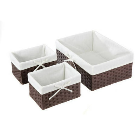 Dark Rolled Basket, 3 Piece