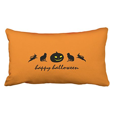 Halloween Cat Silhouette Pattern (WinHome Vintage Fashion Happy Halloween Pumpkin Cat Witch Silhouette Pattern Polyester 20 x 30 Inch Rectangle Throw Pillow Covers With Hidden Zipper Home Sofa Cushion Decorative)