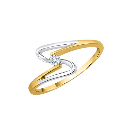 Two Tone Gold Promise Ring (Diamond Promise Ring in 14K Two Tone Gold (1/20 cttw) (I-Color, SI3-I1 Clarity))