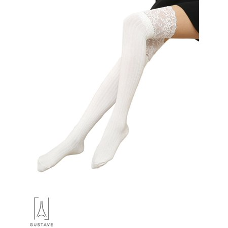 02ae506cf73 Gustave - GustaveDesign Over the Knee Knit Long Thigh High Stockings Lace  Plain Leg Warmers Boots Socks for Girls Women