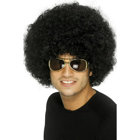 FUNKY AFRO WIG black 1970s big hair disco perm fro halloween costume accessory - Rainbow Afro Wig